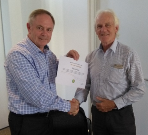 Phil receiving his Service Award Certificate from Chairman Paul Swain